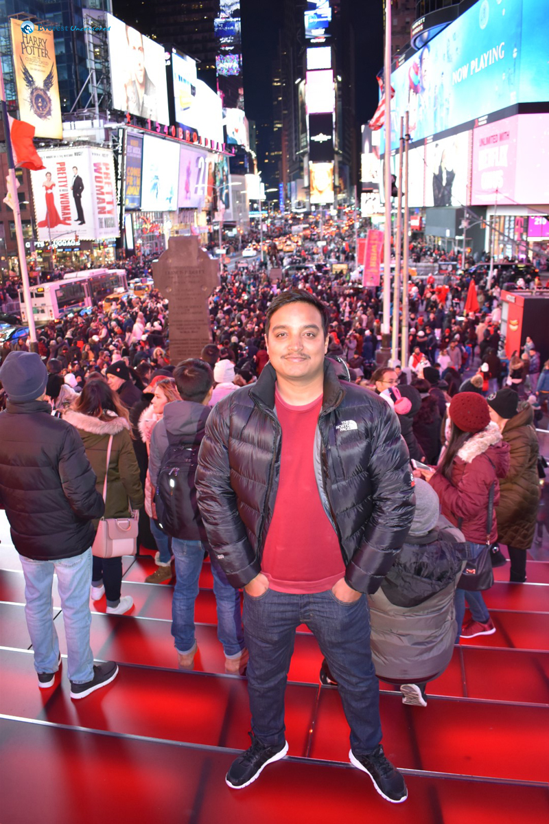 At Red Stairs Times Square New York