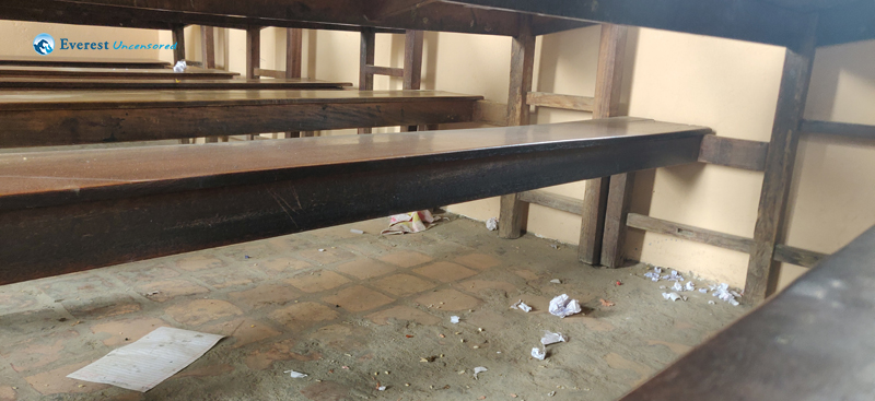 3. Classroom With Littered Papers And Dust